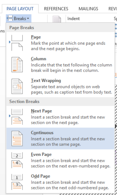 Section Breaks combo menu in MS Word