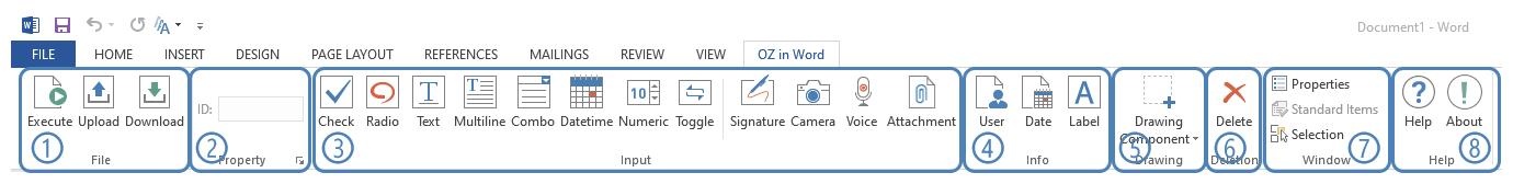 OZ in Word ribbon menu